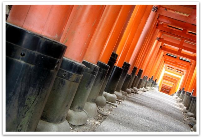 Mutta ennen metsään saapumista kävelimme läpi tuhansista porteista. Fushimi Inari-taisha on  Inari-jumalan pyhättö.