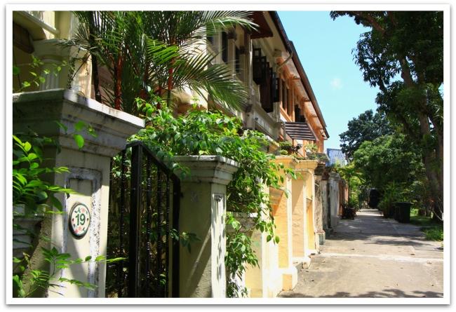 Valtaosa Singaporen rakennuksista on taivaita kurottelevia ja vanhoja taloja on armottomasti purettu uusien rakennusten tieltä. Löysimme kuitenkin hotellimme läheltä pienen kadun, jonka taloissa oli ajan patinaa.