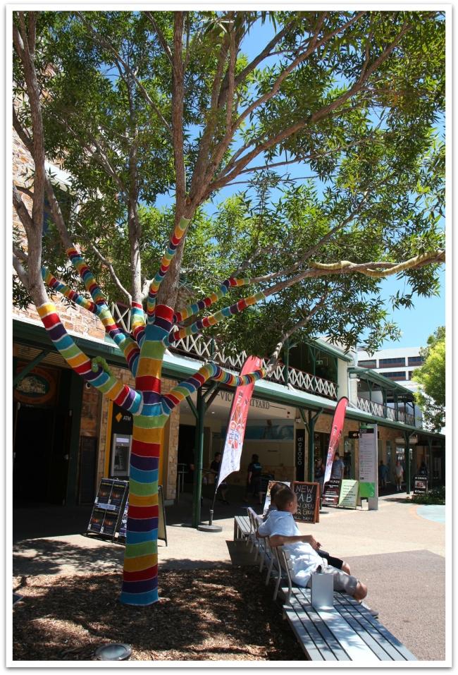 Keskustan kävelykadulla oli puulle puettu villapuku, jottei paleltuisi.